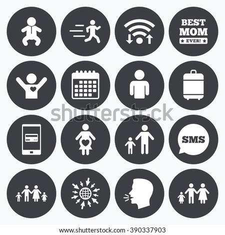 Wifi, calendar and mobile payments. People, family icons. Maternity, person and baby signs. Best mom, father and mother symbols. Sms speech bubble, go to web symbols.