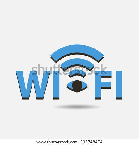 Wifi concept blue logo isolated on grey background art - stock vector