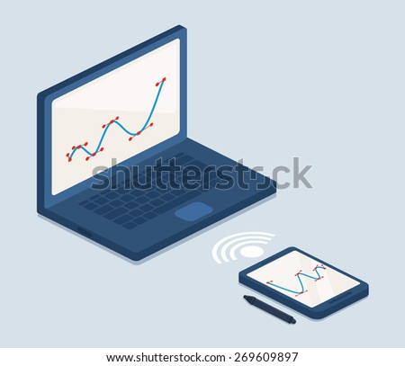 Wifi connection between a tablet and laptop computer allowing creative editing on the touch sensitive screen with a stylus, vector illustration