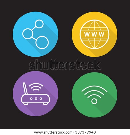 Wifi flat linear icons set. Wireless internet communication. Data transfer, wi-fi signal, global network connection. Long shadow outline logo concepts. Line art vector illustrations on color circles - stock vector
