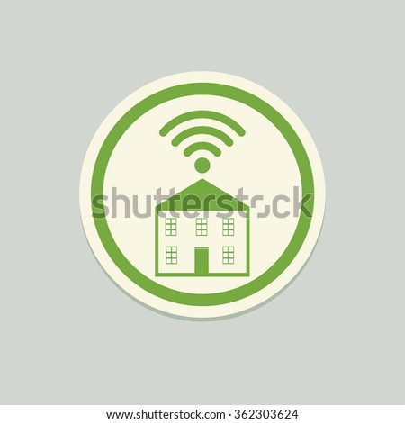 wifi house hostel vector icon illustration - stock vector
