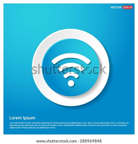 wifi icon - abstract logo type icon - blue icon on white sticker on black background. Vector illustration - stock vector