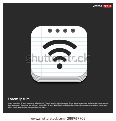wifi icon - abstract logo type icon - glossy notepad book icon button background. Vector illustration - stock vector