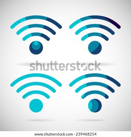 WiFi Icon Wireless Internet connection Flat Design Element Symbol Vector Illustration - stock vector