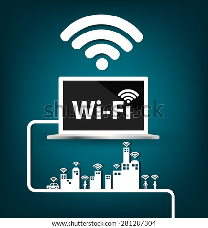 Wifi ,  internet and network concept.  vector illustration. - stock vector