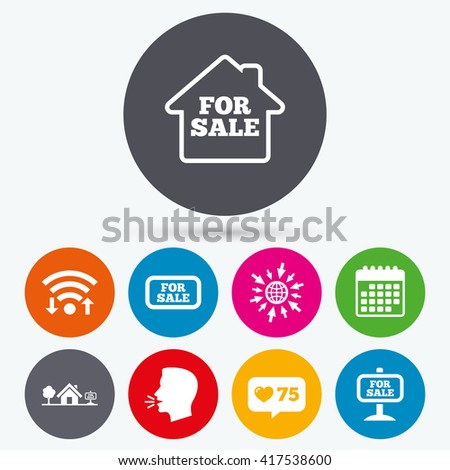 Wifi, like counter and calendar icons. For sale icons. Real estate selling signs. Home house symbol. Human talk, go to web. - stock vector