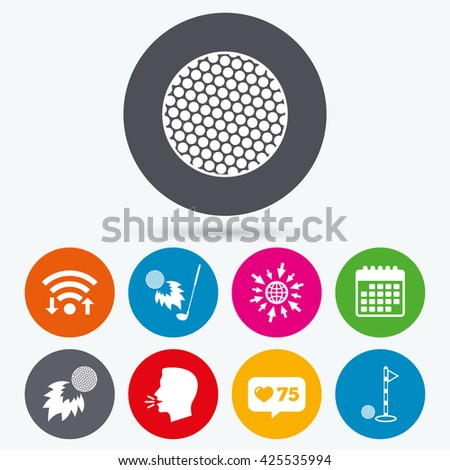 Wifi, like counter and calendar icons. Golf ball icons. Fireball with club sign. Luxury sport symbol. Human talk, go to web. - stock vector