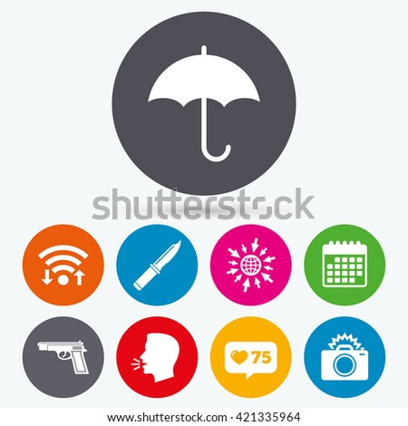 Wifi, like counter and calendar icons. Gun weapon icon.Knife, umbrella and photo camera with flash signs. Edged hunting equipment. Prohibition objects. Human talk, go to web. - stock vector