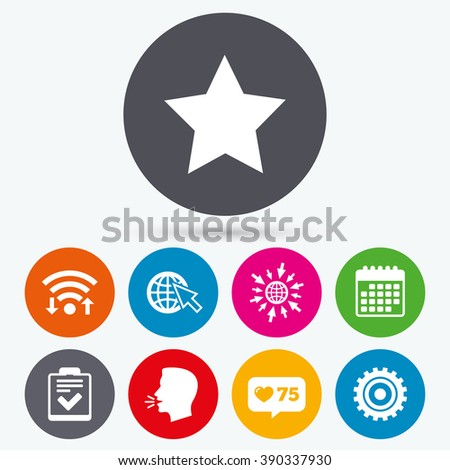 Wifi, like counter and calendar icons. Star favorite and globe with mouse cursor icons. Checklist and cogwheel gear sign symbols. Human talk, go to web. - stock vector