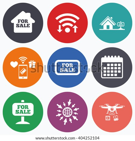 Wifi, mobile payments and drones icons. For sale icons. Real estate selling signs. Home house symbol. Calendar symbol. - stock vector