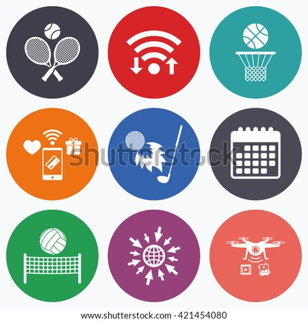 Wifi, mobile payments and drones icons. Tennis rackets with ball. Basketball basket. Volleyball net with ball. Golf fireball sign. Sport icons. Calendar symbol. - stock vector