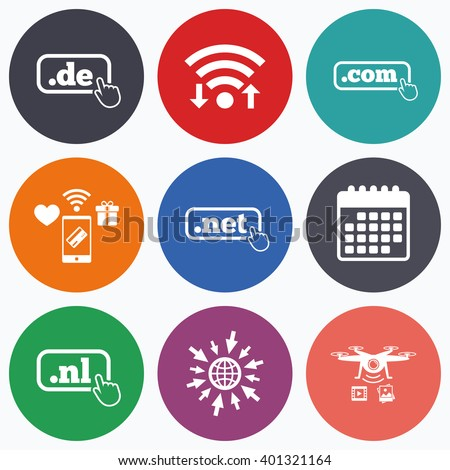 Wifi, mobile payments and drones icons. Top-level internet domain icons. De, Com, Net and Nl symbols with hand pointer. Unique national DNS names. Calendar symbol. - stock vector
