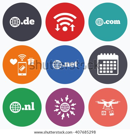 Wifi, mobile payments and drones icons. Top-level internet domain icons. De, Com, Net and Nl symbols with globe. Unique national DNS names. Calendar symbol. - stock vector