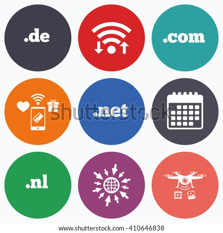Wifi, mobile payments and drones icons. Top-level internet domain icons. De, Com, Net and Nl symbols. Unique national DNS names. Calendar symbol. - stock vector