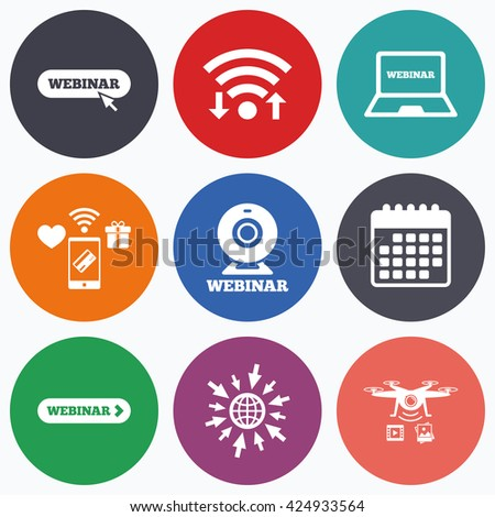 Wifi, mobile payments and drones icons. Webinar icons. Web camera and notebook pc signs. Website e-learning or online study symbols. Calendar symbol. - stock vector