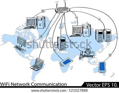 WiFi Network Communication Vector Illustrator Sketched, EPS 10. - stock vector