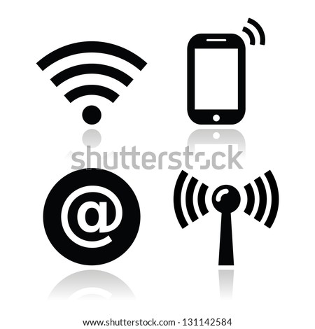 Wifi network, internet zone icons set - stock vector