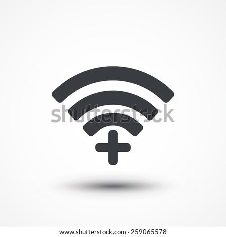 Wifi plus sign. Add Wi-fi symbol. Wireless Network icon. Wifi zone. Flat design style - stock vector