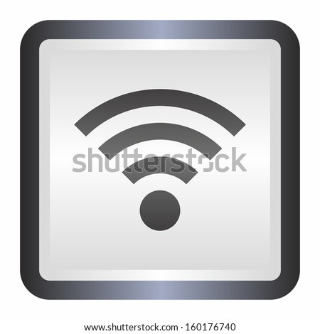 Wifi sign (elegance silver button, black version) - stock vector
