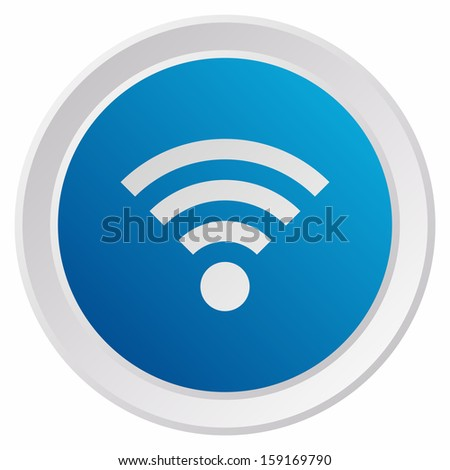 Wifi sign (GRX btn metallic, blue version) - stock vector