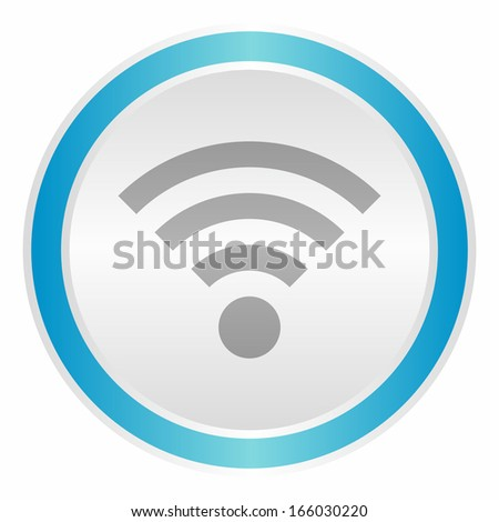 Wifi sign (neon light metallic button, blue version) - stock vector