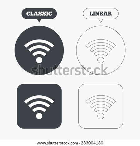 Wifi sign. Wi-fi symbol. Wireless Network icon. Wifi zone. Classic and line web buttons. Circles and squares. Vector - stock vector