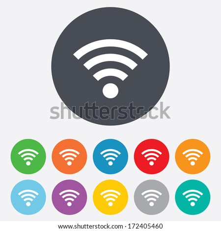Wifi sign. Wi-fi symbol. Wireless Network icon. Wifi zone. Round colourful 11 buttons. Vector - stock vector