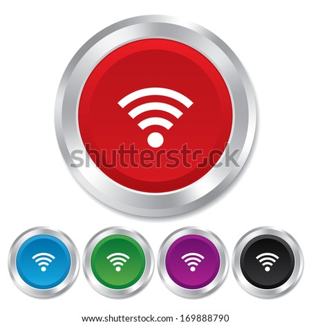 Wifi sign. Wi-fi symbol. Wireless Network icon. Wifi zone. Round metallic buttons. Vector - stock vector