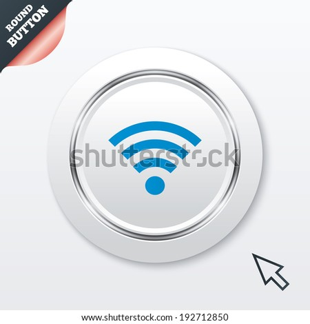 Wifi sign. Wi-fi symbol. Wireless Network icon. Wifi zone. White button with metallic line. Modern UI website button with mouse cursor pointer. Vector - stock vector