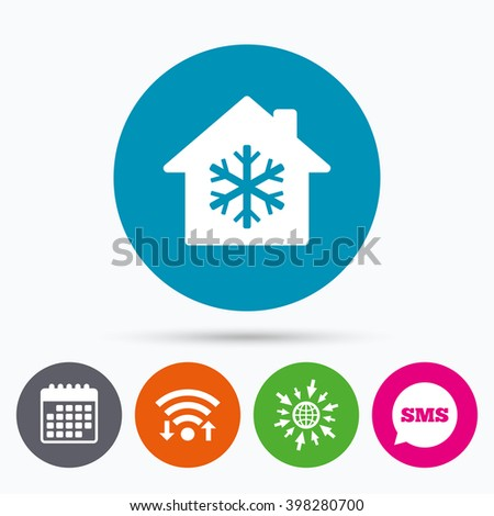 Wifi, Sms and calendar icons. Air conditioning indoors icon. Snowflake sign. Go to web globe. - stock vector