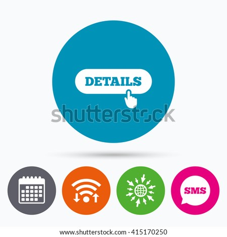 Wifi, Sms and calendar icons. Details with hand pointer sign icon. More symbol. Website navigation. Go to web globe. - stock vector