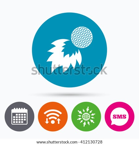 Wifi, Sms and calendar icons. Golf fireball sign icon. Sport symbol. Go to web globe. - stock vector
