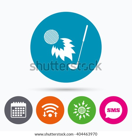 Wifi, Sms and calendar icons. Golf fireball with club sign icon. Sport symbol. Go to web globe. - stock vector