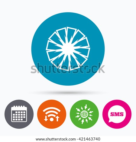 Wifi, Sms and calendar icons. Pineapple slice sign icon. Ananas exotic tropical fruit symbol. Go to web globe. - stock vector