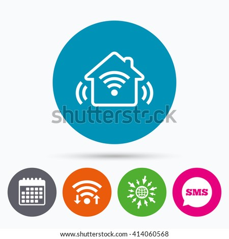 Wifi, Sms and calendar icons. Smart home sign icon. Smart house button. Remote control. Go to web globe. - stock vector