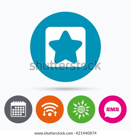 Wifi, Sms and calendar icons. Star sign icon. Favorite button. Navigation symbol. Go to web globe. - stock vector