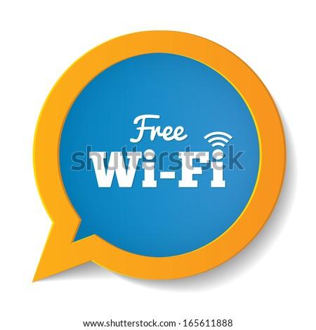 Wifi speech bubble. Free wifi symbol. Wireless Network icon. Wifi zone. - stock vector