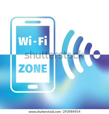 wifi symbol - free wifi - internet zone - stock vector