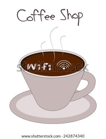 Wifi symbol in coffee cup vector  - stock vector