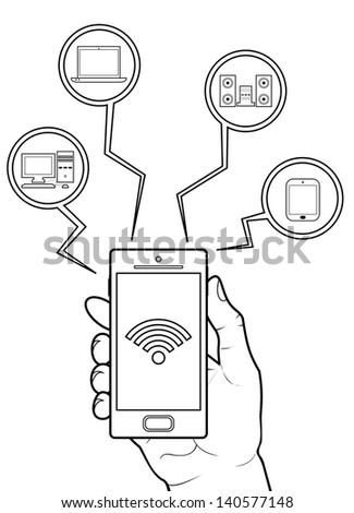 WiFi Tether from Smartphone to Other Device - stock vector