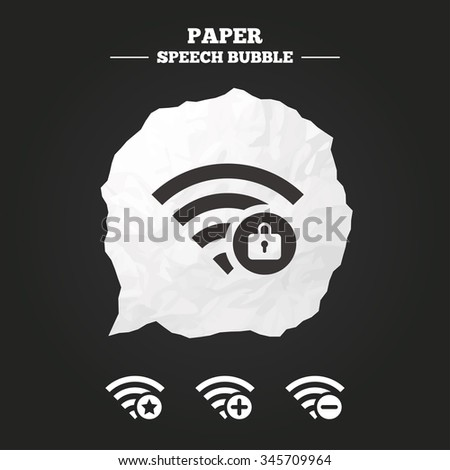 Wifi Wireless Network icons. Wi-fi zone add or remove symbols. Favorite star sign. Password protected Wi-fi. Paper speech bubble with icon. - stock vector
