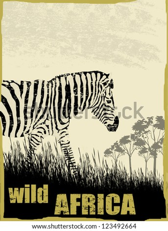 Wild africa image with zebra silhouette on grunge background, vector illustration - stock vector