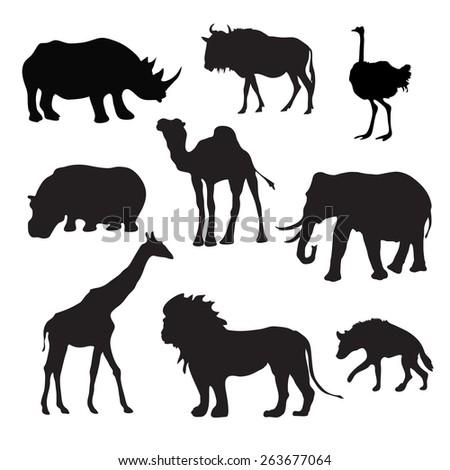 Wild african animals black silhouettes set with buffalo hippopotamus giraffe isolated vector illustration - stock vector