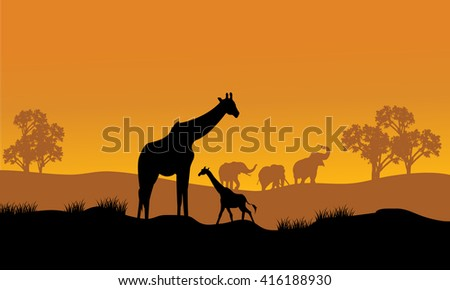 Wild african animals silhouettes in beautiful sunset - stock vector