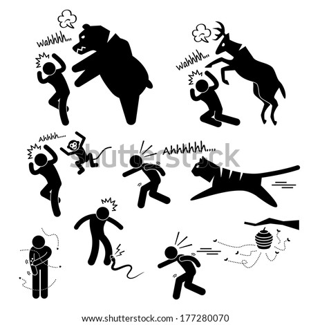 Wild Animal Attacking Hurting Human Stick Figure Pictogram Icon - stock vector
