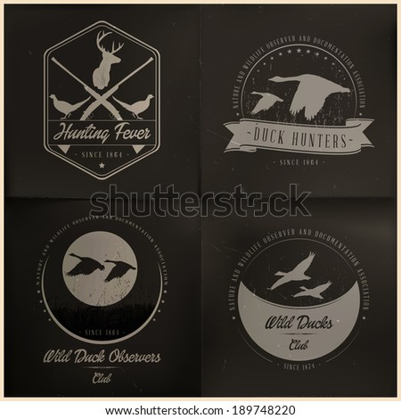 Wild animal badge collection | editable EPS 10 vector - stock vector