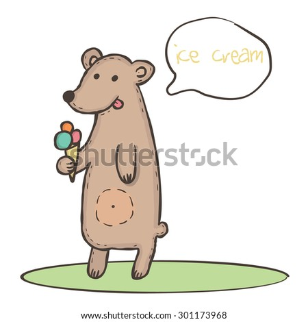 Wild animal brown bear with pink orange and blue ice cream and with round chat bubbles for text Vector illustration eps10 - stock vector