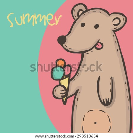 Wild animal brown bear with pink orange and blue ice cream Vector  illustration eps10 - stock vector