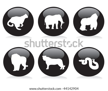 Wild animal buttons set (layered) - stock vector