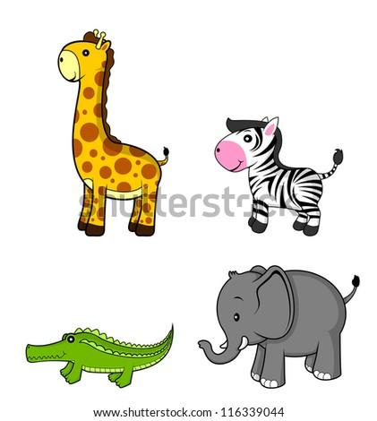wild animal.giraffe.zebra.elephant.crocodile - stock vector